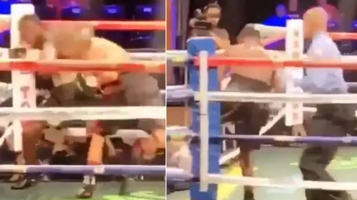Boxer Walks Out Of The Ring After Getting Dropped By Brutal Punch