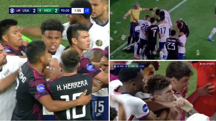 All Hell Broke Loose In CONCACAF Nations League Final Between United States And Mexico