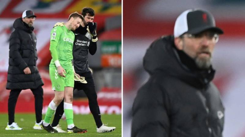 Fans Have Spotted Jurgen Klopp's Reaction To Alisson Having A Chat With Jordan Pickford