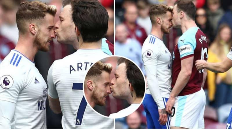 Burnley Striker Ashley Barnes Receives Yellow Card For Kissing Cardiff's Joe Bennett
