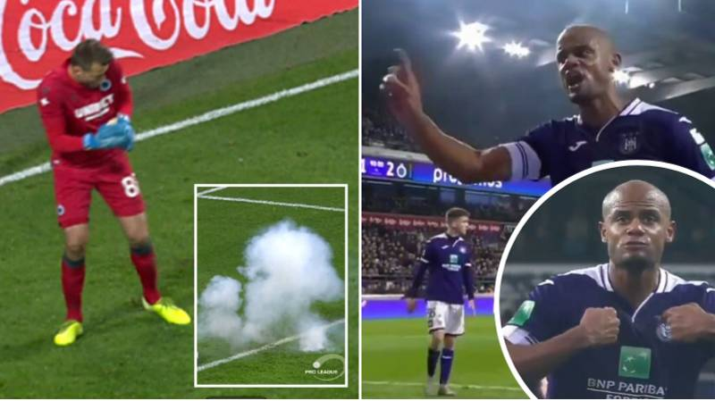 Kompany Passionately Speaks To Anderlecht Fans After They Throw Flare At Simon Mignolet