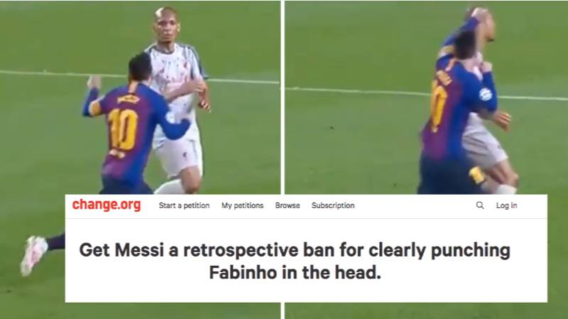 Liverpool Fan Makes Petition For Lionel Messi To Receive Ban For 'Punching Fabinho In The Head'