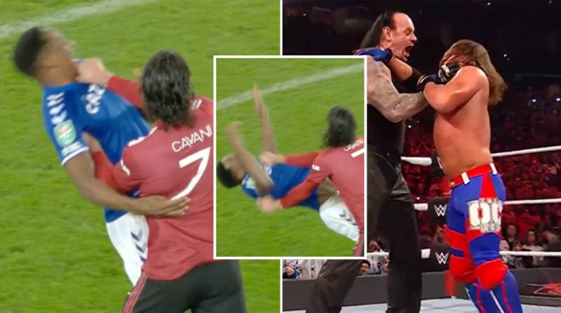 Edinson Cavani Escapes Red Card For 'Chokeslam' On Yerry Mina During Everton vs Man Utd