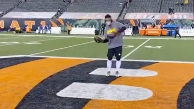 JuJu Smith-Schuster Hit With Huge Tackle After TikTok Dancing On The Cincinnati Bengals Logo