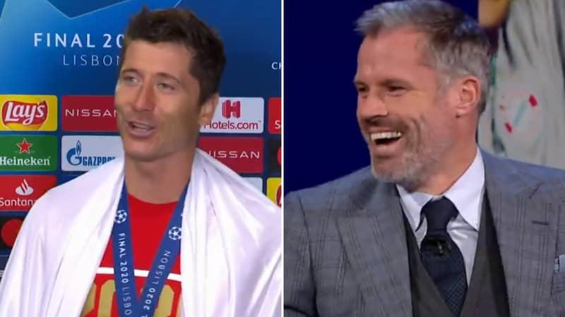Jamie Carragher Hilariously Pretends To Translate Robert Lewandowski's Polish Interview