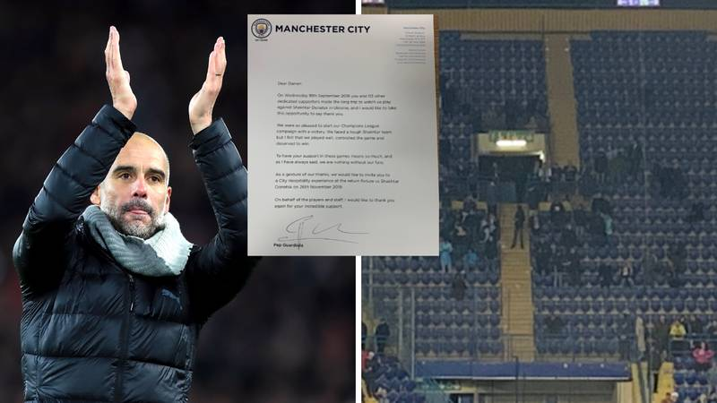 Pep Guardiola Personally Writes To 114 Manchester City Fans Who Flew To Ukraine