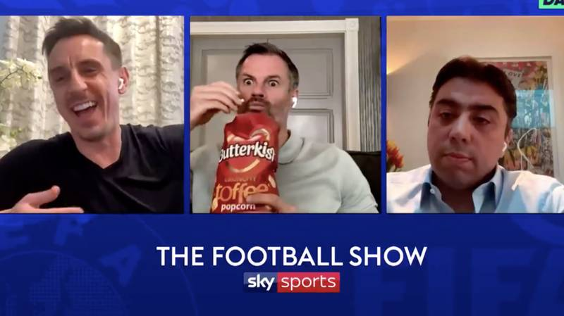 Jamie Carragher Has Hilarious Reaction To Confrontation Between Gary Neville And Carlos Tevez's Agent