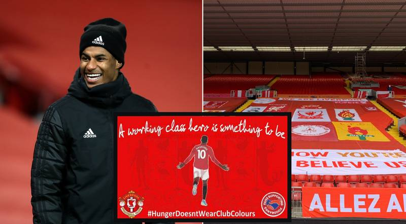 Liverpool Fans Discuss Marcus Rashford Banner At Anfield Before Manchester United Game