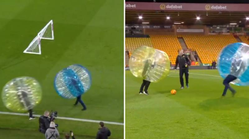 Gary Neville And Jamie Carragher Put Each Other Down In Zorb Football Contest