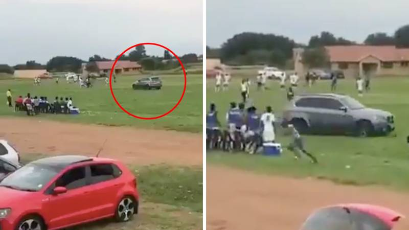 Referee Attacked By Man Driving His BMW Onto The Pitch In South Africa