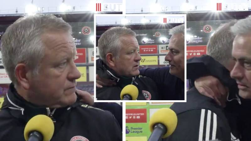 Sheffield United Manager Chris Wilder Looked In Shock When A Humble Jose Mourinho Interrupted His Interview