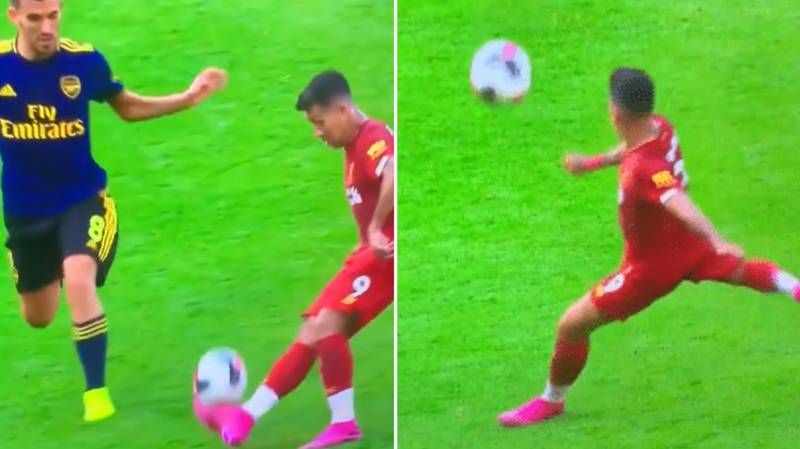 Roberto Firmino Flicks Ball Over Dani Ceballos To Set Himself Up