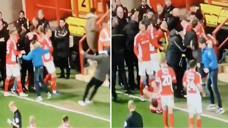 A Charlton Fan Accidentally Injures Krystian Bielik With Slide Tackle In Goal Celebrations