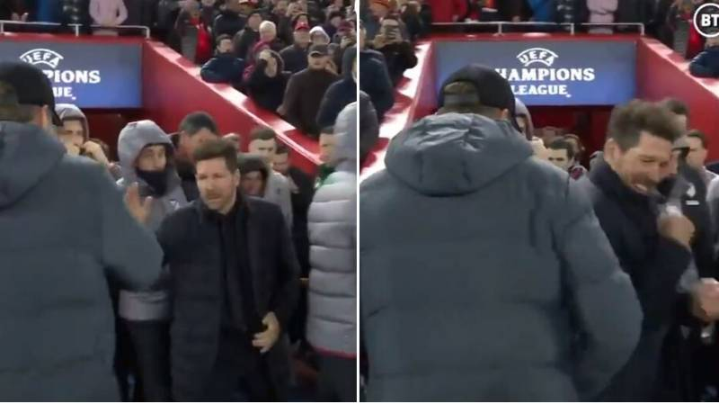 Diego Simeone Goes For Handshake With Jurgen Klopp Before Exchanging Elbows