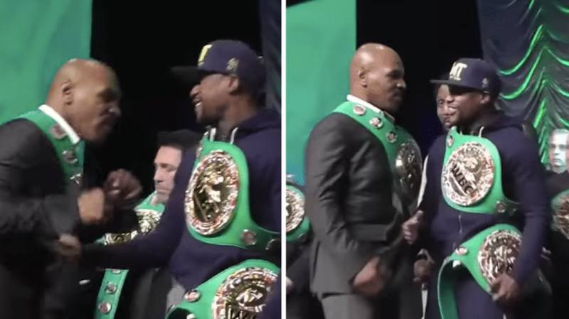 Mike Tyson Swings At Floyd Mayweather And He Doesn't Even Flinch