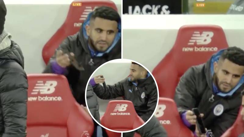 Riyad Mahrez Caught Using A Phone To Complain To City Bench About Mohamed Salah's Goal