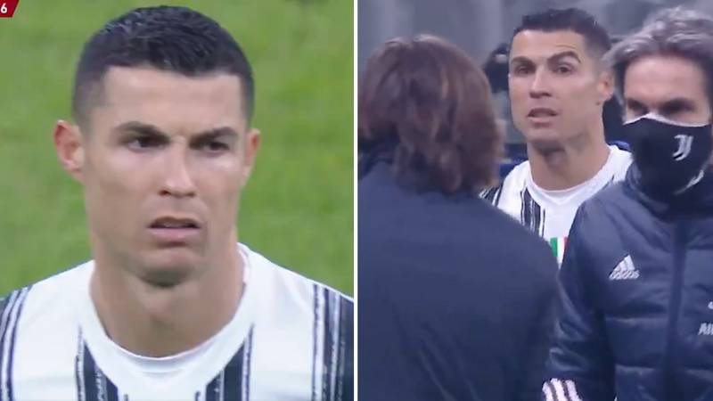 Cristiano Ronaldo Annoyed At Getting Subbed Off While Searching For Hat-Trick Goal Against Inter Milan