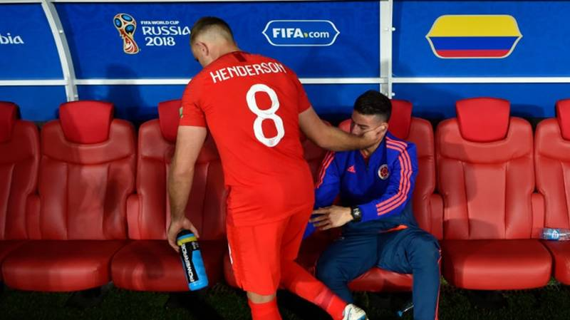 Jordan Henderson Consoled James Rodriguez After England's Win Over Colombia