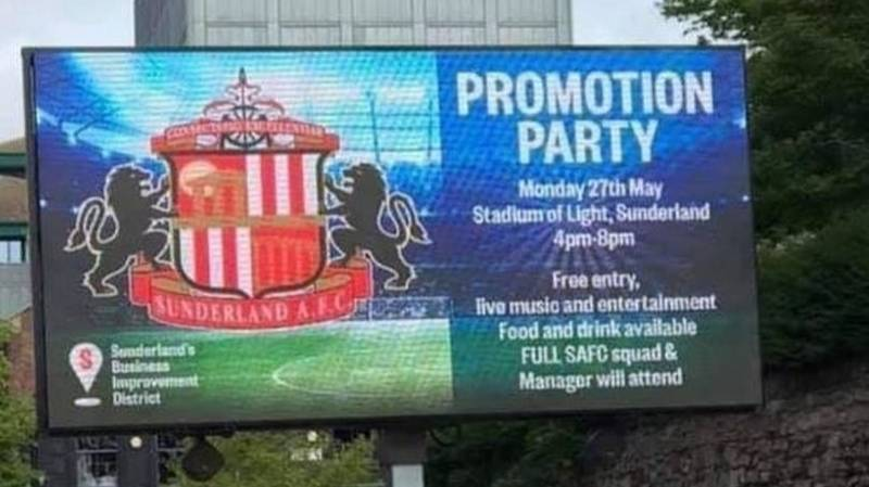 Sunderland Advertised Bank Holiday 'Promotion Party' Ahead Of Play-Off Final Defeat