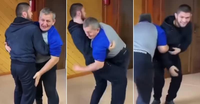 Khabib Nurmagomedov Shares Brilliant Never-Before-Seen Video Of Him Wrestling His Dad
