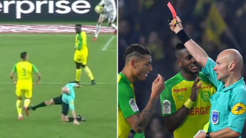 The Incredible Moment A Ligue One Referee Kicked Out At Player And Then Sent Him Off
