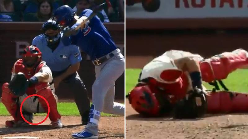 Baseball Catcher Takes A 102mph Fast Ball Straight To The Balls
