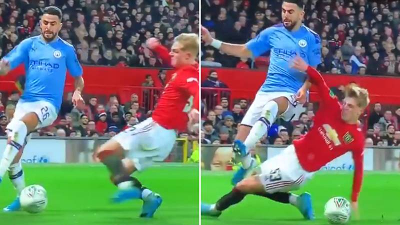 Riyad Mahrez Brilliantly Avoids Brandon Williams Tackle By Nutmegging Him