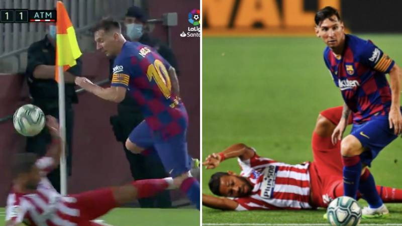 Lionel Messi Sent Renan Lodi Sliding Into Next Week With Deft Skill