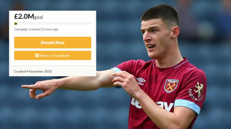 West Ham Fans Start GoFundMe Page To Raise £2 Million For Declan Rice's New Contract
