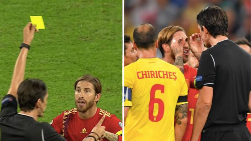Referee Apologises To Sergio Ramos At Half-Time After The Most Bizarre Yellow Card