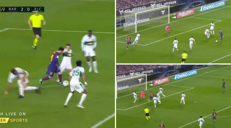 The Moment Five Elche Players Couldn't Stop Lionel Messi From Scoring For Barcelona