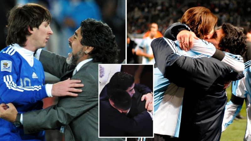 Lionel Messi saluda a Diego Maradona