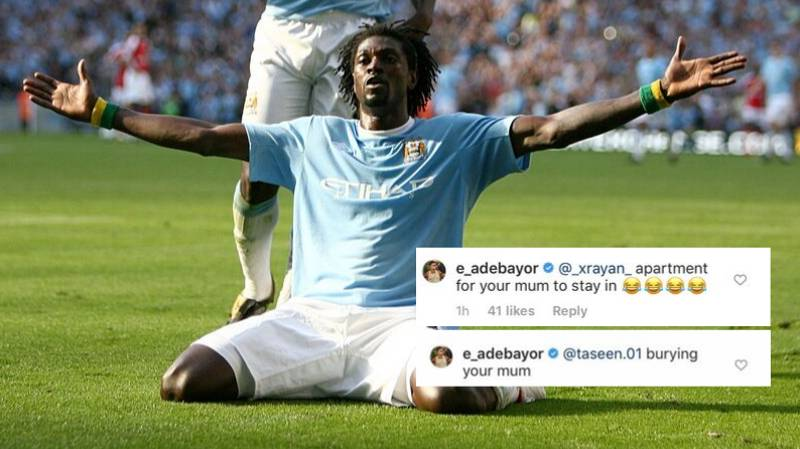 Emmanuel Adebayor Is Making 'Your Mum' Jokes To Arsenal Fans On Instagram