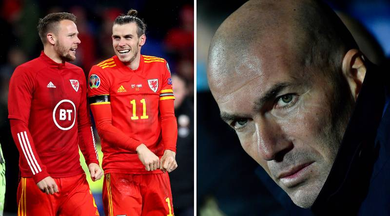 Zinedine Zidane's Reaction To Gareth Bale's Controversial Flag Celebration After Wales' Euro 2020 Qualifier