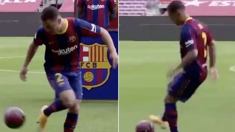 Sergino Dest's Kick-Ups At Barcelona Presentation Were Obviously Horrendous