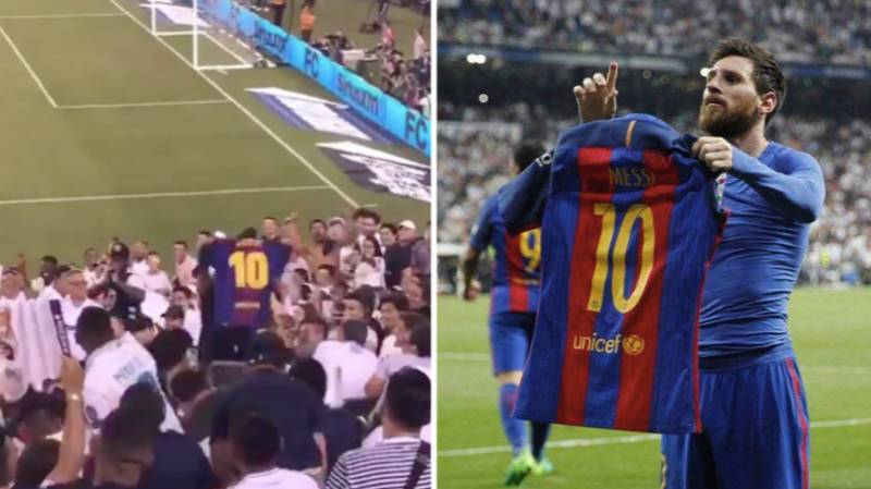 Barcelona Fan Holds Up Lionel Messi Shirt In Real Madrid Section And It Doesn't End Well