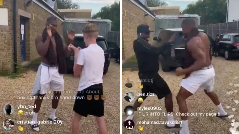 Anthony Joshua Spars Local Lads In Car Park After Training Session