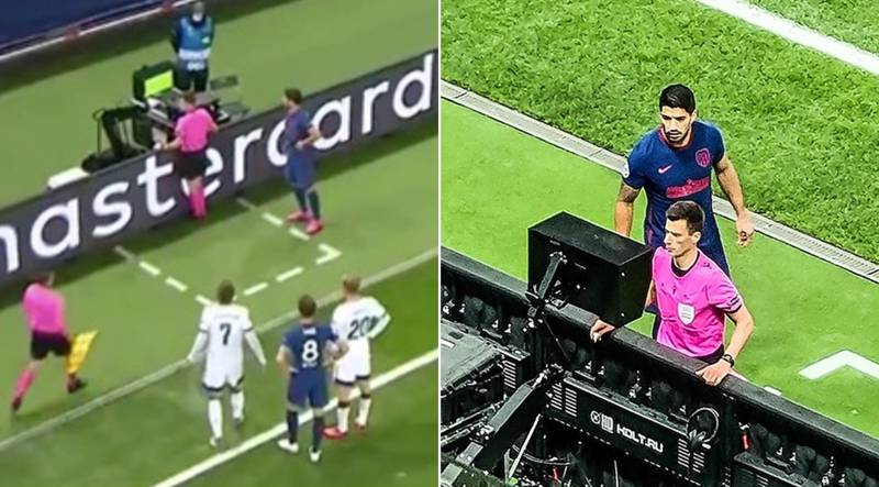 Luis Suarez Tries Sneaky Glimpse At VAR Monitor During Champions League Fixture – And Is Booked For His Troubles