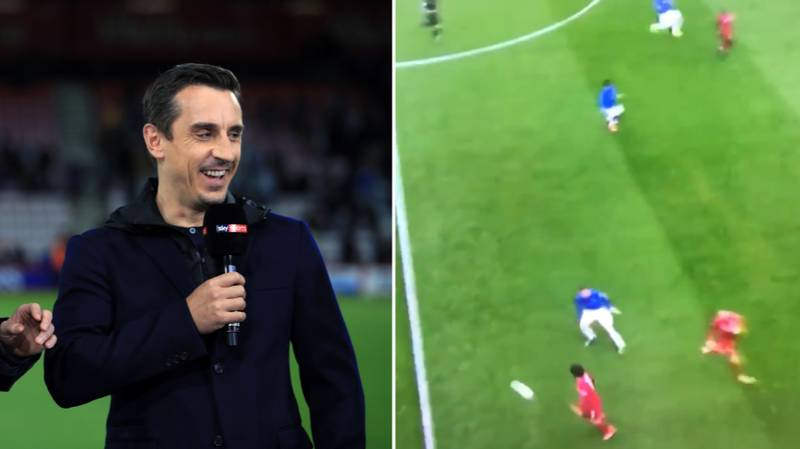 Gary Neville Brutally Mocks Mohamed Salah's Ridiculously Heavy First Touch Against Everton