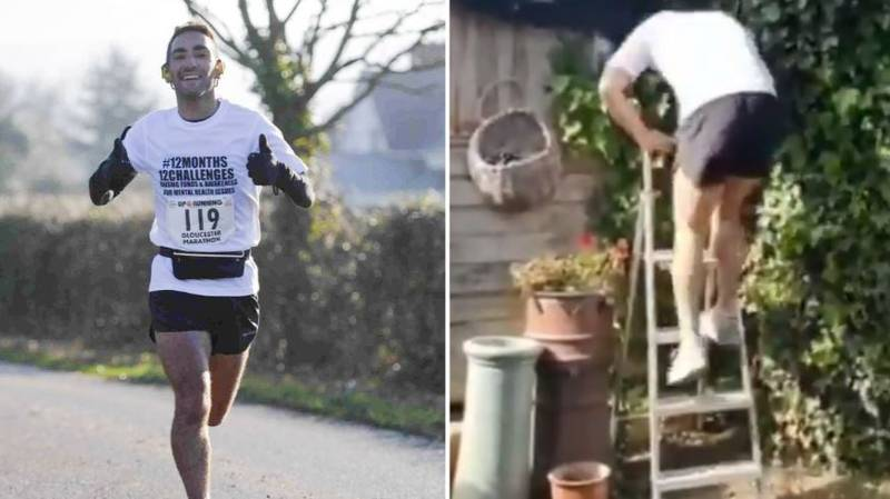 Lad Does 52km Run In His Garden And Uses Ladder To Recreate Incline For Charity