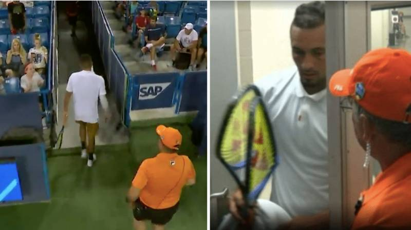Nick Kyrgios Fakes 'Bathroom Break' To Destroy Two Rackets In Extraordinary Meltdown