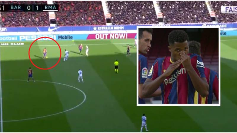 Lionel Messi Produces Incredible Pass In The Build-Up To Ansu Fati's El Clasico Goal