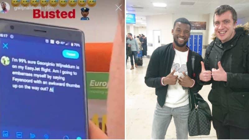Georginio Wijnaldum Hilariously Catches Tweeting Fan On Same Flight