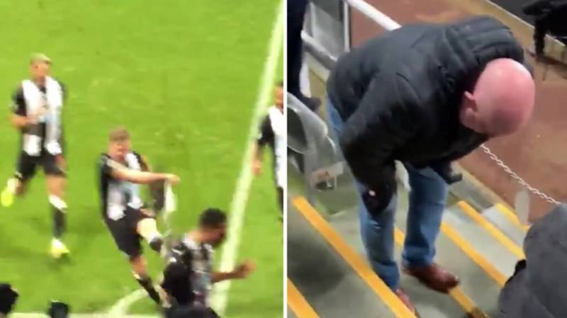 Matt Ritchie Accidentally Kicked A Corner Flag Into A Fan's Balls Celebrating Newcastle's Winner