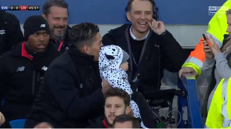 Roberto Firmino Poses For A Photo With Random Woman's Baby At Goodison Park