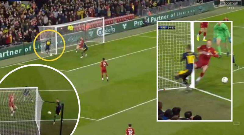 Mesut Ozil Produces Incredible Backheel Assist Against Liverpool In The League Cup