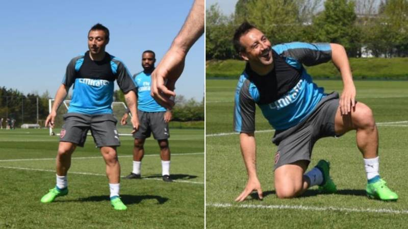 Santi Cazorla Pictured In Full Arsenal Training For The First Time In 19 Months