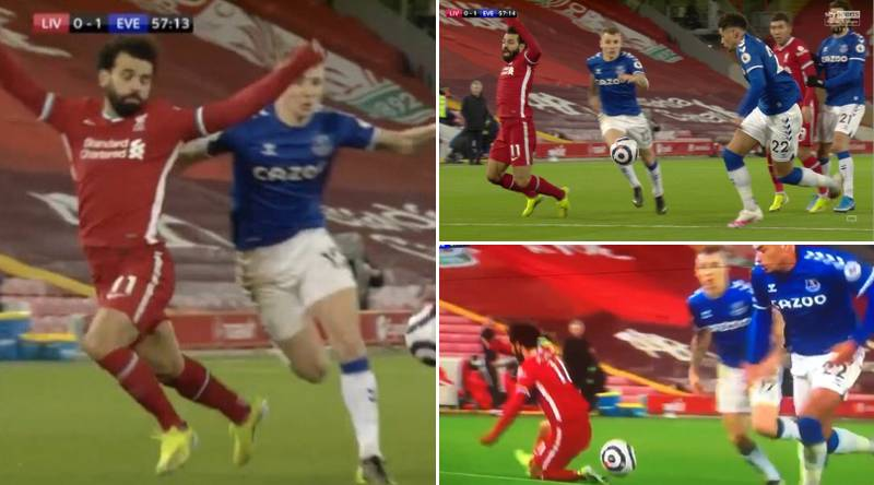 Mohamed Salah Mocked For Diving After Blatant Tumble Against Everton