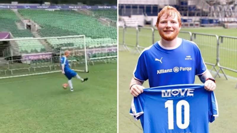 Ed Sheeran Somehow Misses Open Goal In Football Match In Brazil