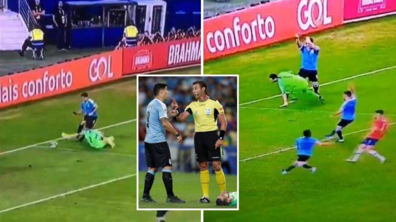 Luis Suarez Hilariously Appealed For Handball Against Chile Goalkeeper In The Area